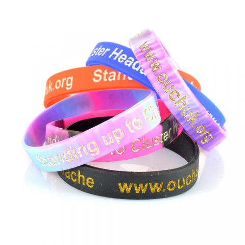 OUCH UK Cluster Headache charity wristbands - selection of colours