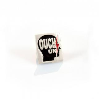 Lapel Pin Badge OUCH UK Head Silhouette - Pewter